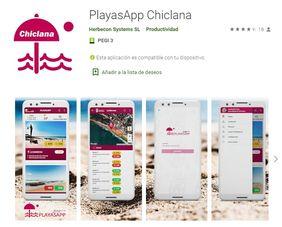 Imagen de la página de descarga de la app de playas.