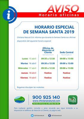 Horario especial Semana Santa